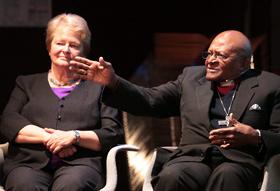 Gro Harlem Brundtland with Desmond Tutu at public debate in Oslo