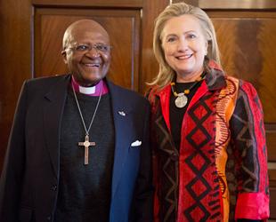 Desmond Tutu with Hillary Clinton