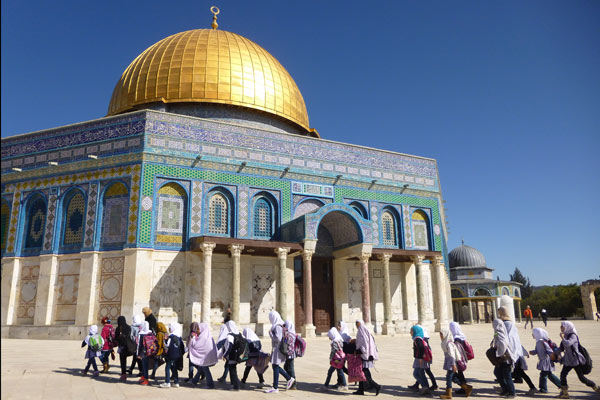 Schoolgirls outside the Dome of the Rock, Jerusalem