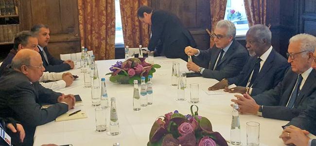 Kofi Annan, Lakhdar Brahimi and Ernesto Zedillo meet Kuwaiti Deputy Prime Minister,  Sheikh Khaled Al Jarrah Al-Sabah at the Munich Security Conference 2018. (Credit: The Elders)