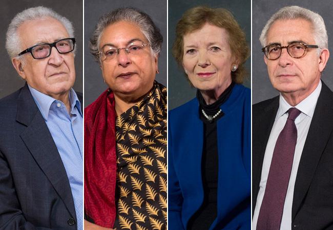 Lakhdar Brahimi. Hina Jilani, Mary Robinson and Ernesto Zedillo
