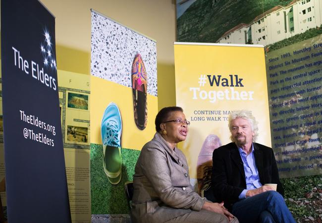 Graça Machel and Richard Branson in South Africa in July 2017. ((Credit: The Elders #WalkTogether)