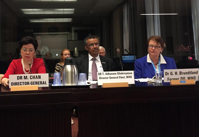 Margaret Chan, Dr Tedros Adhanom Ghebreyesus and Gro Harlem Brundtland at 70th World Health Assembly in May 2017