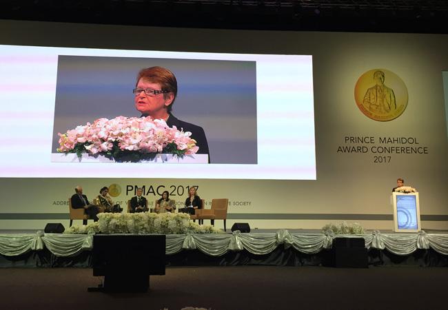 Gro Harlem Brundtland delivers the keynote speech at the PMAC 2017 Conference.