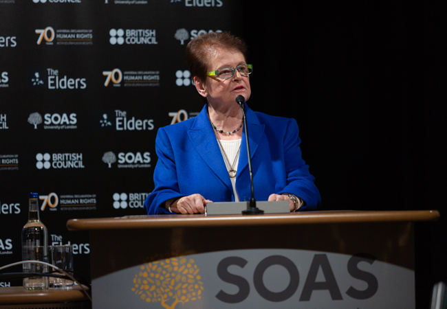 Gro Harlem Brundtland introduces the event at SOAS
