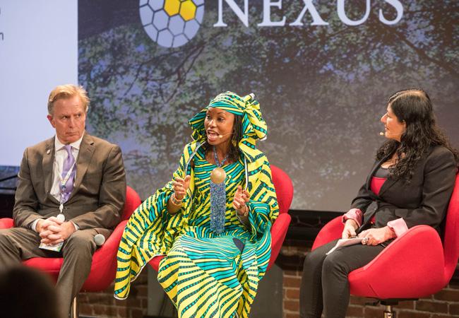 Hindou Omarou speaks at the NEXUS/Global Climate Action Summit side event (Credit: Bob Stender)