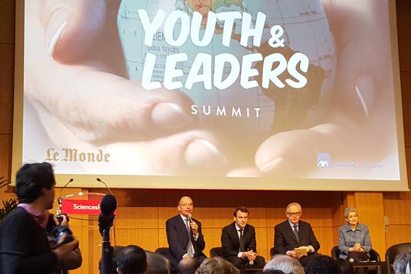 Enrico Letta, Emmanuel Macron, Martti Ahtisaari and Irina Bokova at Sciences Po Youth & Leaders 2016 Summit to discuss the agenda of the next United Nations Secretary-General.