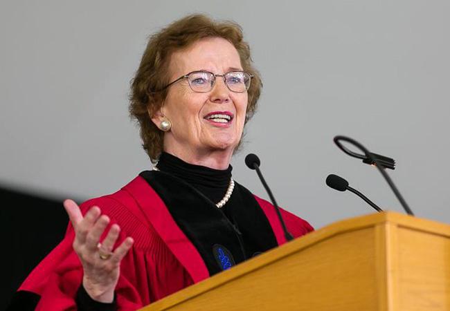 Mary Robinson addresses graduating students at Harvard School of Public Health in May 2018. (Credit: Jonathan Levine)