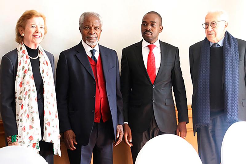 Mary Robinson, Kofi Annan and Lakhdar Brahimi meet Nelson Chamisa