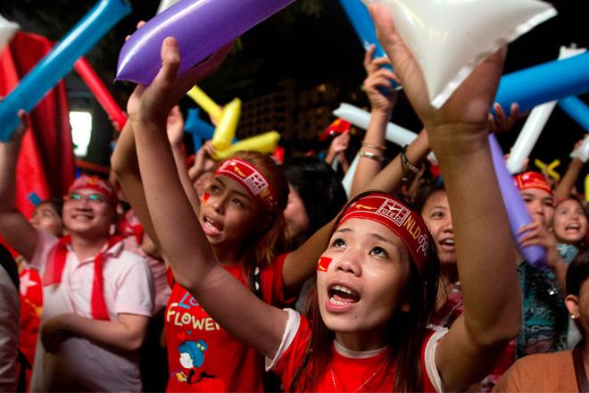 Children in Myanmar celebrate NLD victory