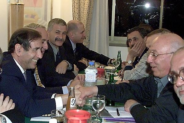 Shlomo Ben Ami with Ahmed Qorei at the Taba summit, 2001