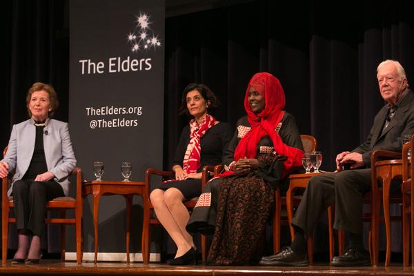 Mary Robinson, Sanam Andalini, Asha Haji Elmi and Jimmy Carter at Where Are The Women event