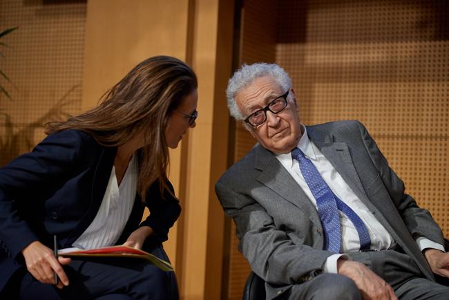 Vanessa Scherrer and Lakhdar Brahimi at Sciences Po